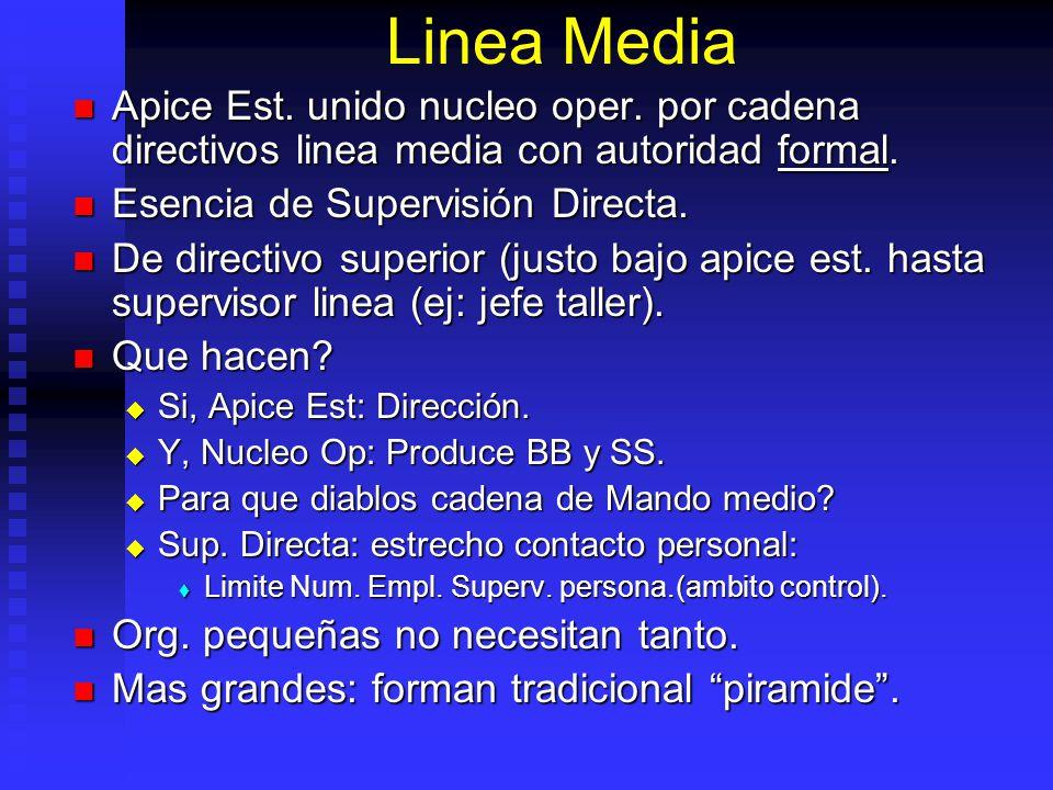 Linea Media Apice Est. unido nucleo oper. por cadena directivos linea media con autoridad formal. Apice Est. unido nucleo oper. por cadena directivos
