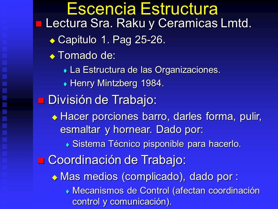 Escencia Estructura Lectura Sra. Raku y Ceramicas Lmtd. Lectura Sra. Raku y Ceramicas Lmtd. Capitulo 1. Pag 25-26. Capitulo 1. Pag 25-26. Tomado de: T