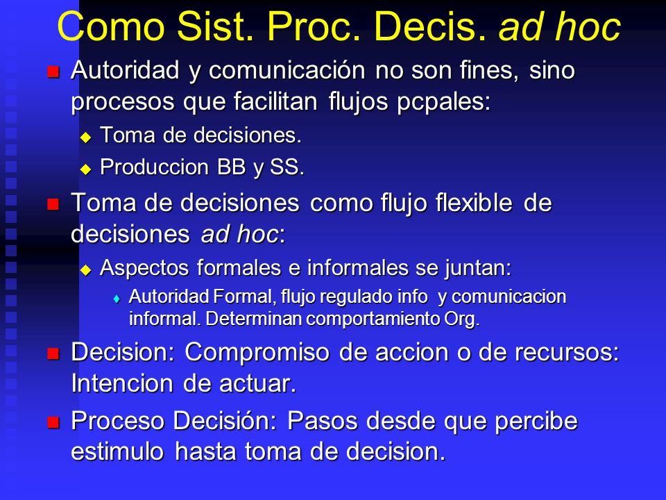 Como Sist. Proc. Decis. ad hoc Autoridad y comunicación no son fines, sino procesos que facilitan flujos pcpales: Autoridad y comunicación no son fine