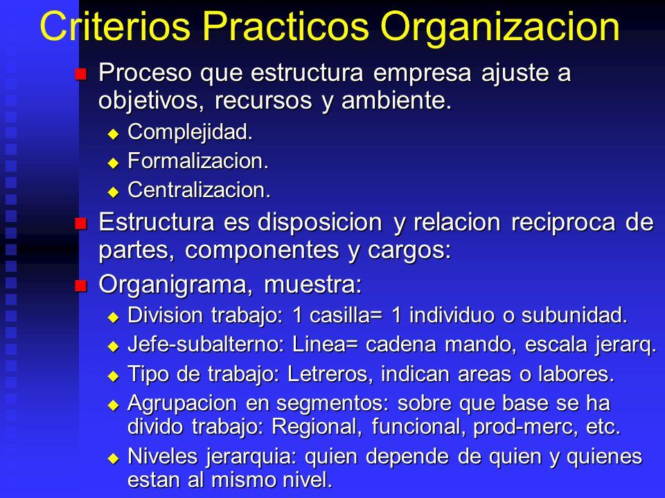 Criterios Practicos Organizacion Proceso que estructura empresa ajuste a objetivos, recursos y ambiente. Proceso que estructura empresa ajuste a objet