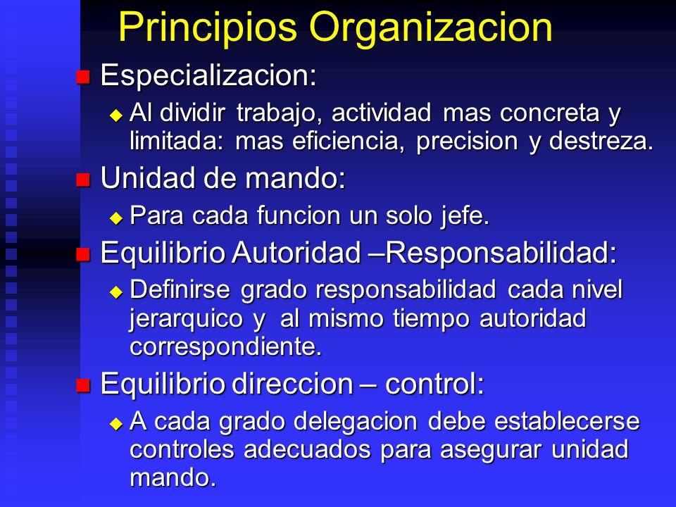 Principios Organizacion Especializacion: Especializacion: Al dividir trabajo, actividad mas concreta y limitada: mas eficiencia, precision y destreza.