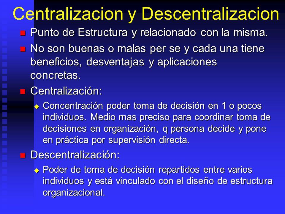 Centralizacion y Descentralizacion Punto de Estructura y relacionado con la misma. Punto de Estructura y relacionado con la misma. No son buenas o mal