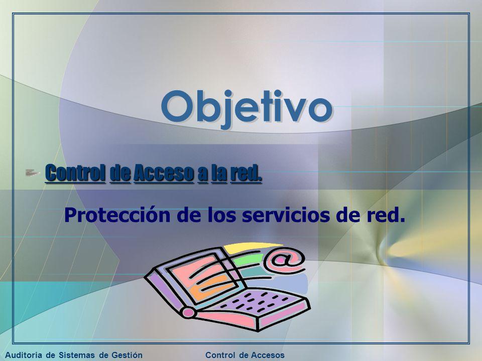 Auditoria de Sistemas de GestiónControl de Accesos Control de Acceso a la red. Protección de los servicios de red.