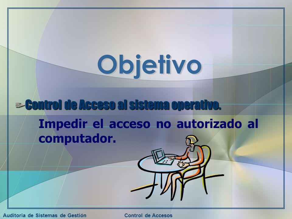 Auditoria de Sistemas de GestiónControl de Accesos Control de Acceso al sistema operativo. Impedir el acceso no autorizado al computador.