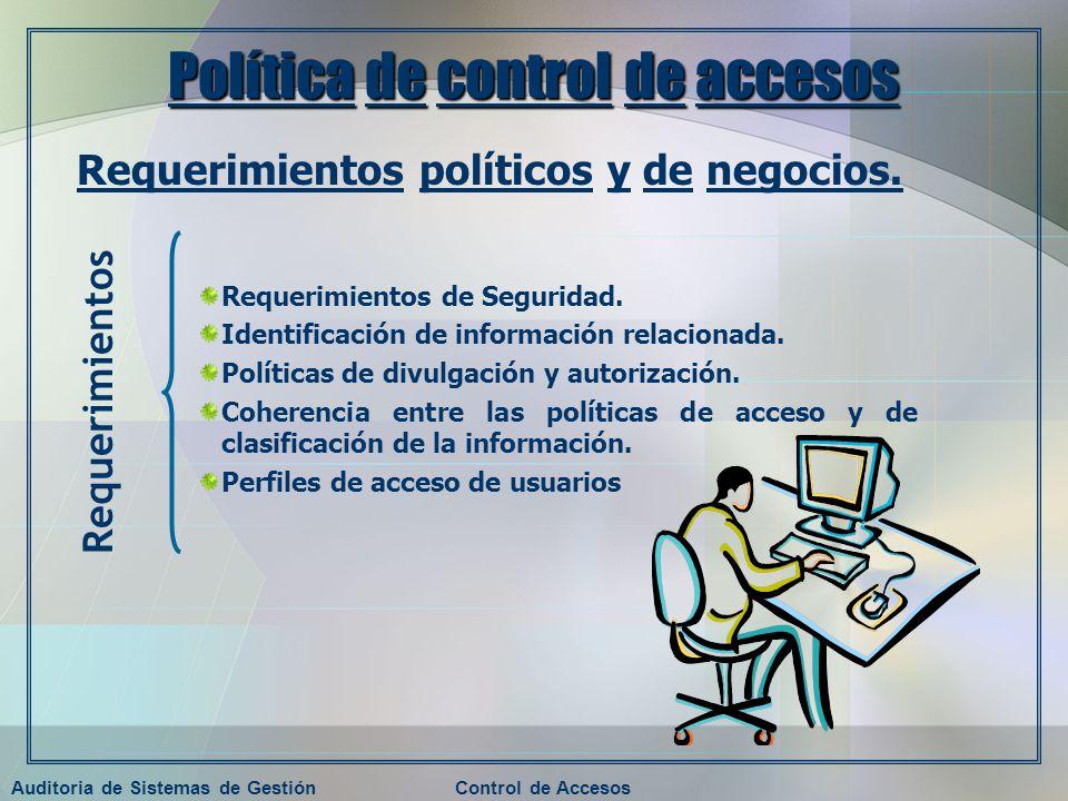 Auditoria de Sistemas de GestiónControl de Accesos Política de control de accesos Requerimientos políticos y de negocios. Requerimientos de Seguridad.