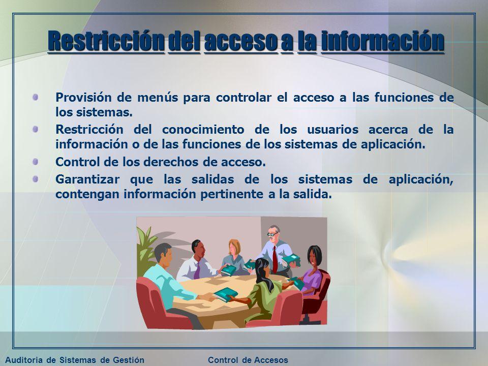 Auditoria de Sistemas de GestiónControl de Accesos Restricción del acceso a la información Provisión de menús para controlar el acceso a las funciones
