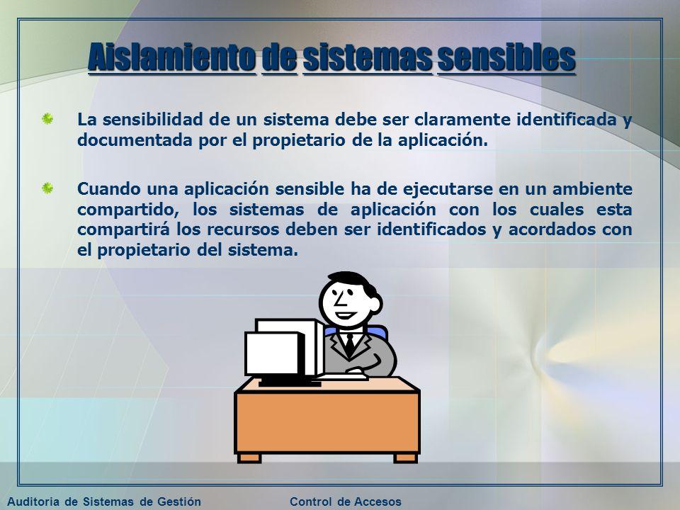 Auditoria de Sistemas de GestiónControl de Accesos Aislamiento de sistemas sensibles La sensibilidad de un sistema debe ser claramente identificada y