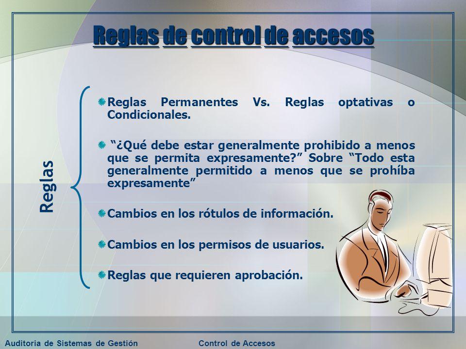 Auditoria de Sistemas de GestiónControl de Accesos Reglas de control de accesos Reglas Permanentes Vs. Reglas optativas o Condicionales. ¿Qué debe est