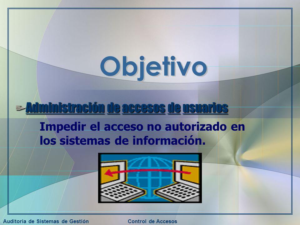 Auditoria de Sistemas de GestiónControl de Accesos Administración de accesos de usuarios Impedir el acceso no autorizado en los sistemas de informació