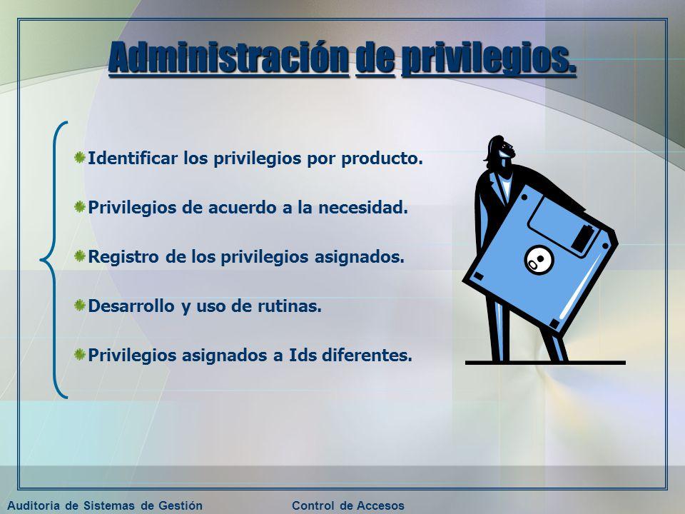 Auditoria de Sistemas de GestiónControl de Accesos Administración de privilegios. Identificar los privilegios por producto. Privilegios de acuerdo a l