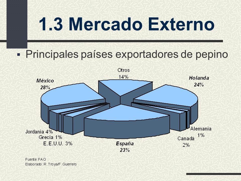 Principales países exportadores de pepino 1.3 Mercado Externo