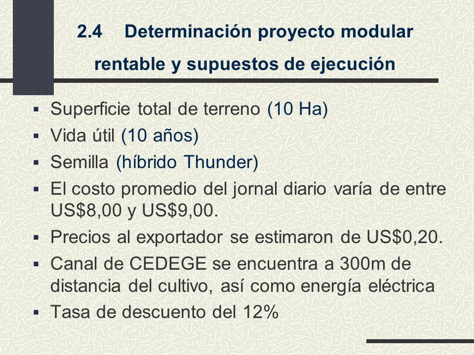 2.4Determinación proyecto modular rentable y supuestos de ejecución Superficie total de terreno (10 Ha) Vida útil (10 años) Semilla (híbrido Thunder) El costo promedio del jornal diario varía de entre US$8,00 y US$9,00.