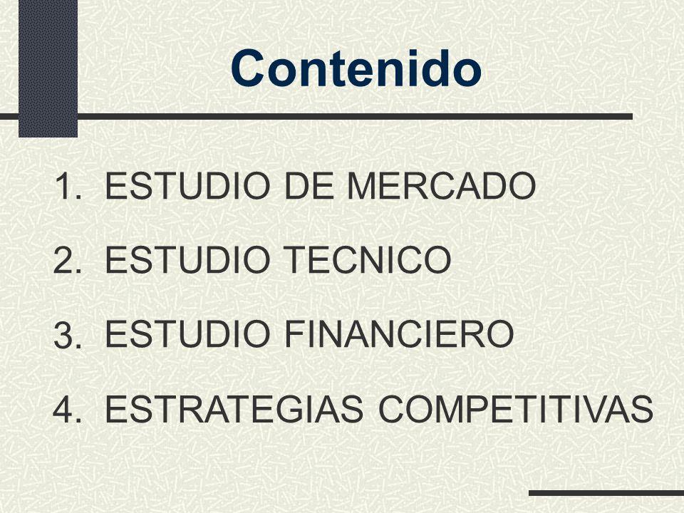 ESTUDIO TECNICO ESTUDIO DE MERCADO ESTUDIO FINANCIERO ESTRATEGIAS COMPETITIVAS 1. 2. 3. 4. Contenido