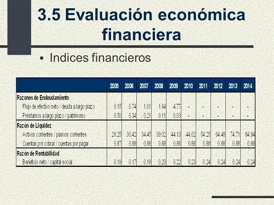 3.5Evaluación económica financiera Indices financieros