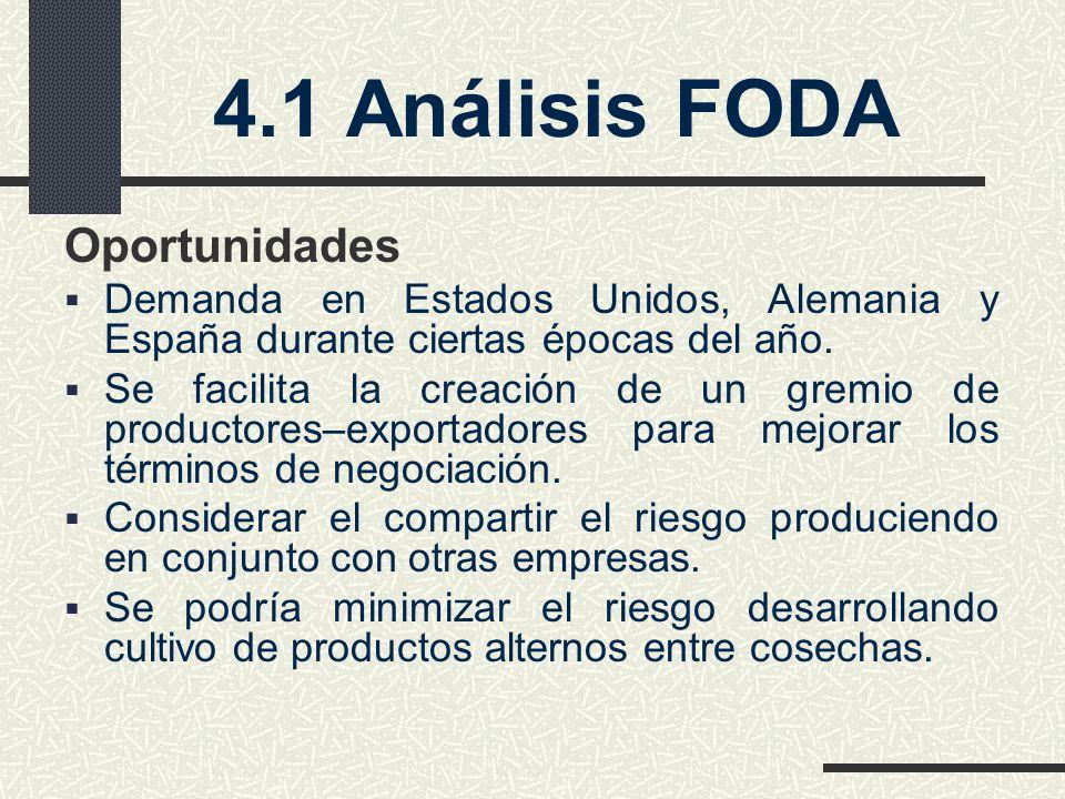 4.1 Análisis FODA Oportunidades Demanda en Estados Unidos, Alemania y España durante ciertas épocas del año. Se facilita la creación de un gremio de p