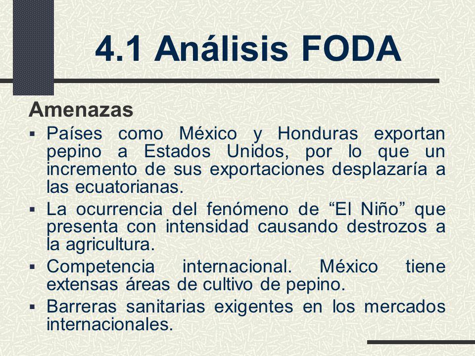 4.1 Análisis FODA Amenazas Países como México y Honduras exportan pepino a Estados Unidos, por lo que un incremento de sus exportaciones desplazaría a las ecuatorianas.