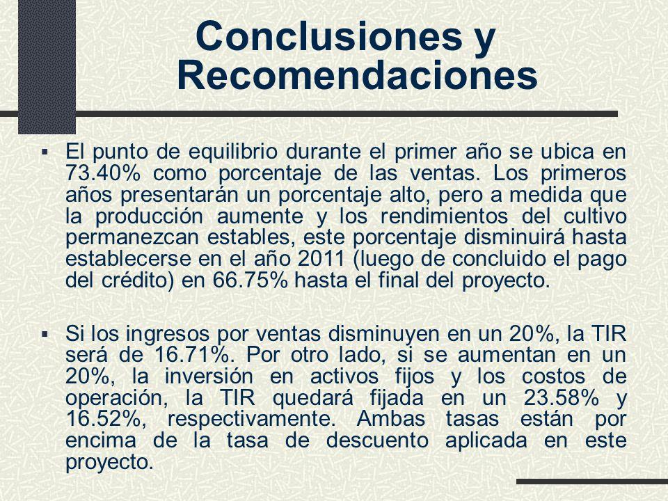 Conclusiones y Recomendaciones El punto de equilibrio durante el primer año se ubica en 73.40% como porcentaje de las ventas. Los primeros años presen