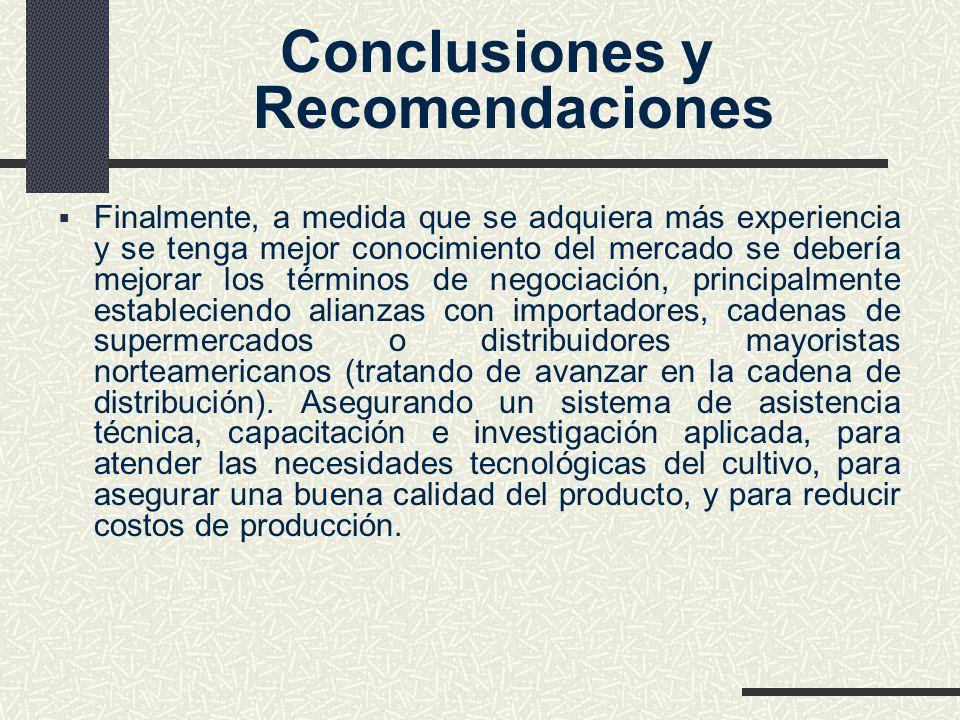 Conclusiones y Recomendaciones Finalmente, a medida que se adquiera más experiencia y se tenga mejor conocimiento del mercado se debería mejorar los t