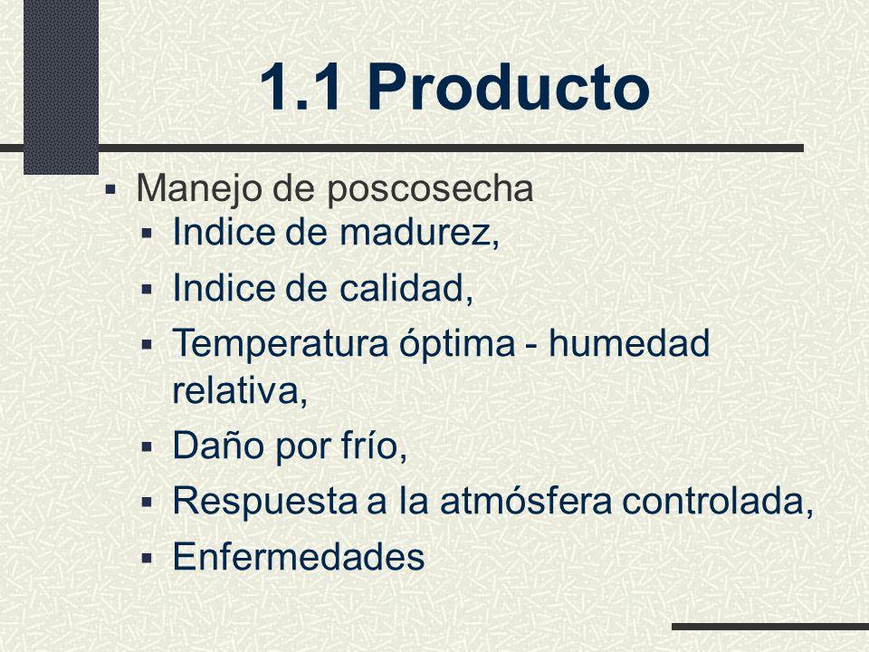 Manejo de poscosecha Indice de madurez, Indice de calidad, Temperatura óptima - humedad relativa, Daño por frío, Respuesta a la atmósfera controlada, Enfermedades 1.1 Producto