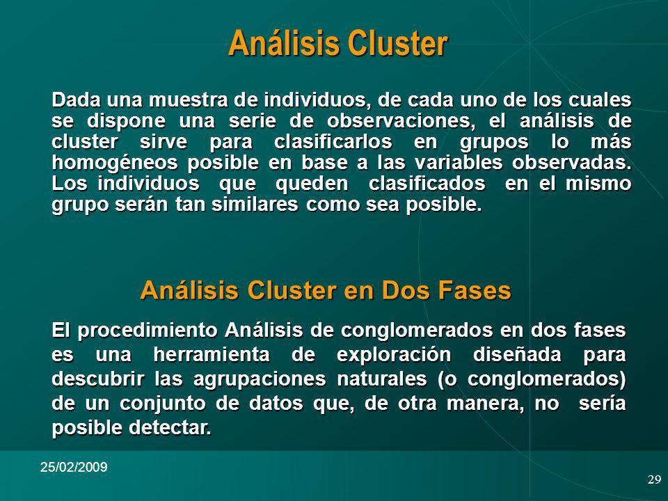 29 25/02/2009 Análisis Cluster Dada una muestra de individuos, de cada uno de los cuales se dispone una serie de observaciones, el análisis de cluster sirve para clasificarlos en grupos lo más homogéneos posible en base a las variables observadas.