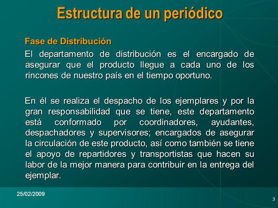3 25/02/2009 Fase de Distribución Fase de Distribución El departamento de distribución es el encargado de asegurar que el producto llegue a cada uno de los rincones de nuestro país en el tiempo oportuno.