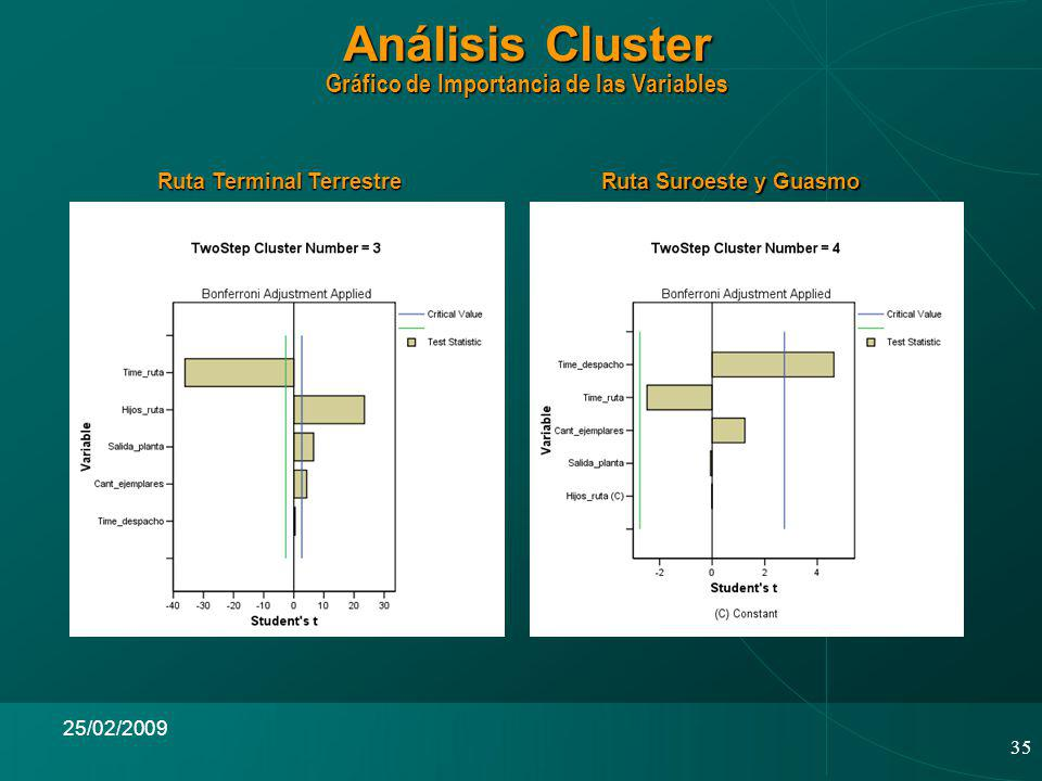 35 25/02/2009 Análisis Cluster Gráfico de Importancia de las Variables Ruta Terminal Terrestre Ruta Suroeste y Guasmo
