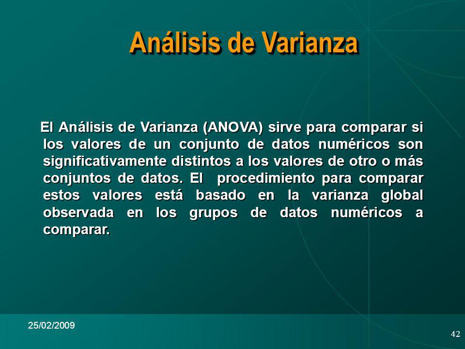 42 25/02/2009 El Análisis de Varianza (ANOVA) sirve para comparar si los valores de un conjunto de datos numéricos son significativamente distintos a los valores de otro o más conjuntos de datos.