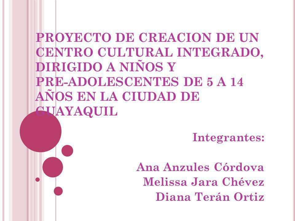 PROYECTO DE CREACION DE UN CENTRO CULTURAL INTEGRADO, DIRIGIDO A NIÑOS Y PRE-ADOLESCENTES DE 5 A 14 AÑOS EN LA CIUDAD DE GUAYAQUIL Integrantes: Ana An