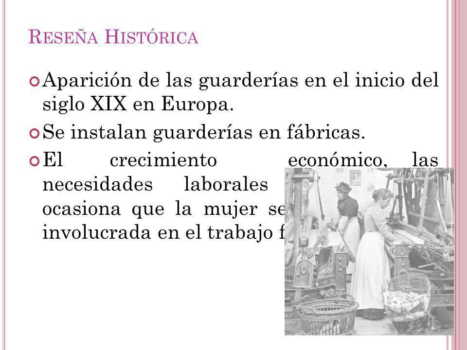 Aparición de las guarderías en el inicio del siglo XIX en Europa. Se instalan guarderías en fábricas. El crecimiento económico, las necesidades labora