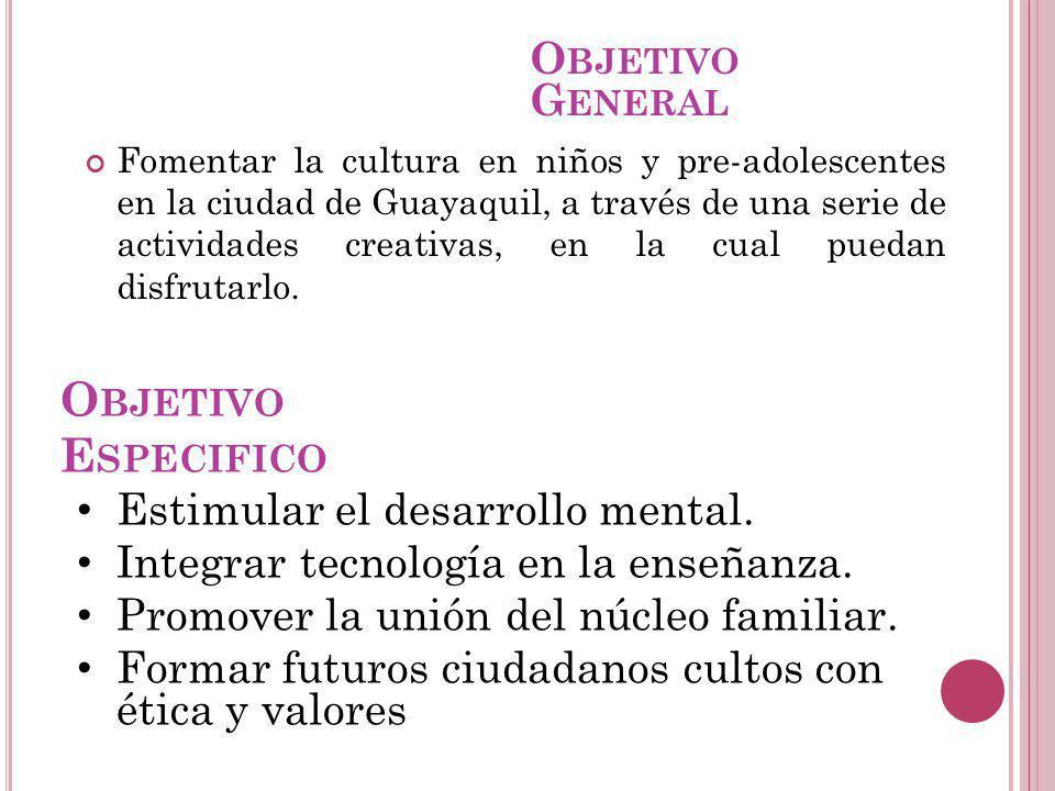 O BJETIVO E SPECIFICO Fomentar la cultura en niños y pre-adolescentes en la ciudad de Guayaquil, a través de una serie de actividades creativas, en la
