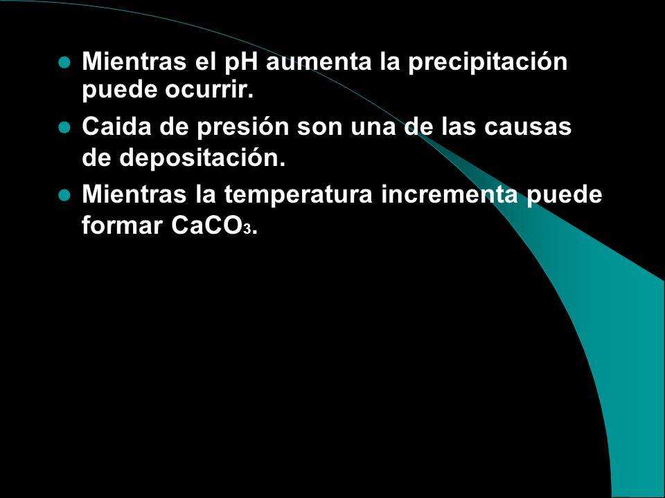 ESCALAS COMUNES Carbonato de cálcio ( CaCO 3 ), puede estar formada por la siguiente reacción: (Ver Tabla 5). Ca ++ + CO 3 = CaCO 3 Ca ++ + 2 ( HCO 3