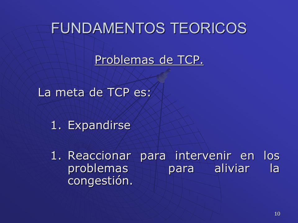 10 FUNDAMENTOS TEORICOS Problemas de TCP. La meta de TCP es: 1.Expandirse 1.Reaccionar para intervenir en los problemas para aliviar la congestión.
