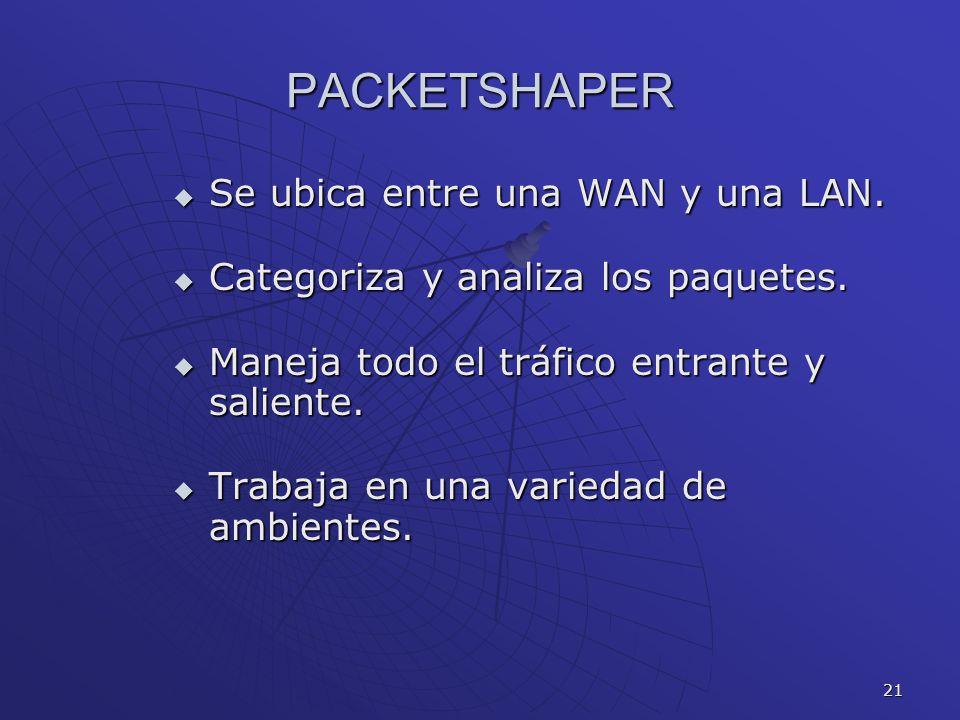 21 PACKETSHAPER Se ubica entre una WAN y una LAN. Se ubica entre una WAN y una LAN. Categoriza y analiza los paquetes. Categoriza y analiza los paquet