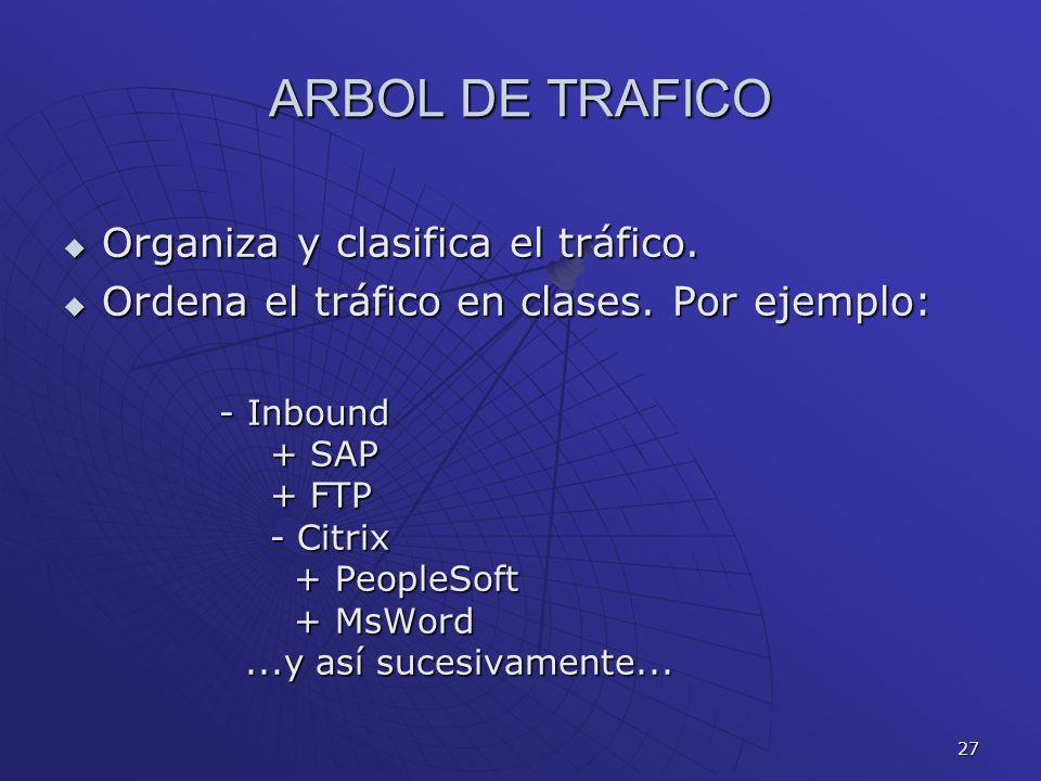 27 ARBOL DE TRAFICO Organiza y clasifica el tráfico. Organiza y clasifica el tráfico. Ordena el tráfico en clases. Por ejemplo: Ordena el tráfico en c