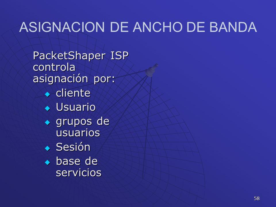 58 ASIGNACION DE ANCHO DE BANDA PacketShaper ISP controla asignación por: cliente cliente Usuario Usuario grupos de usuarios grupos de usuarios Sesión