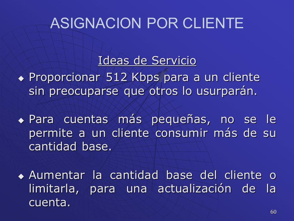 60 ASIGNACION POR CLIENTE Ideas de Servicio Proporcionar 512 Kbps para a un cliente sin preocuparse que otros lo usurparán. Proporcionar 512 Kbps para