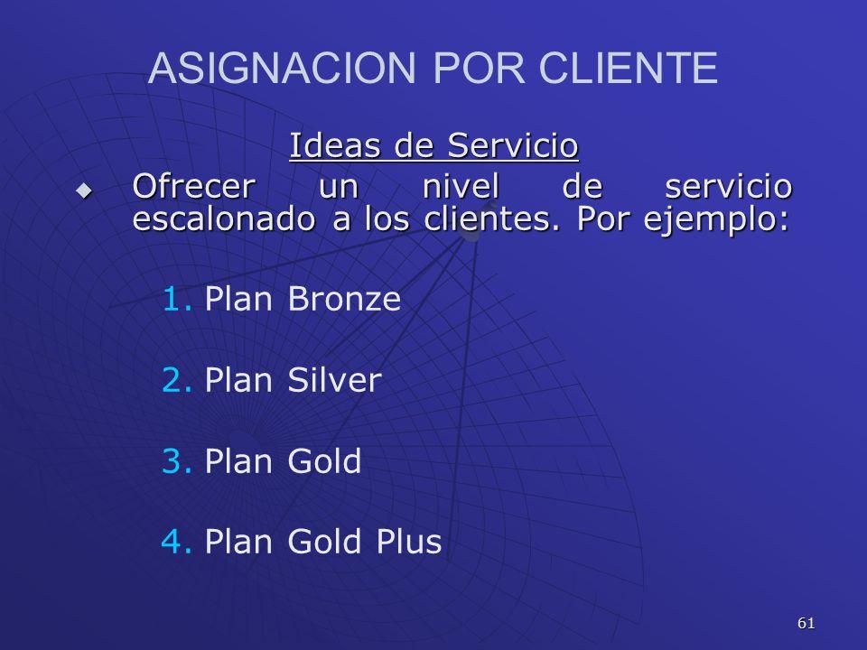 61 Ideas de Servicio Ofrecer un nivel de servicio escalonado a los clientes. Por ejemplo: Ofrecer un nivel de servicio escalonado a los clientes. Por