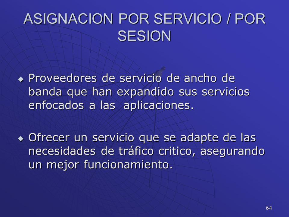 64 ASIGNACION POR SERVICIO / POR SESION Proveedores de servicio de ancho de banda que han expandido sus servicios enfocados a las aplicaciones. Provee