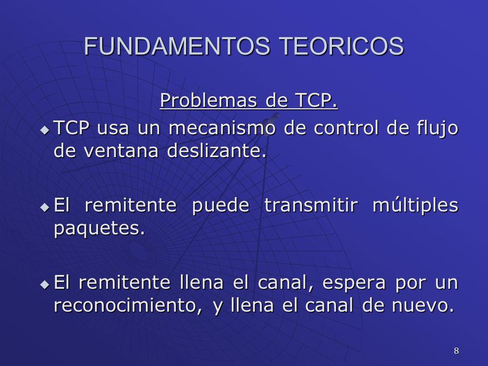 8 FUNDAMENTOS TEORICOS Problemas de TCP. TCP usa un mecanismo de control de flujo de ventana deslizante. TCP usa un mecanismo de control de flujo de v