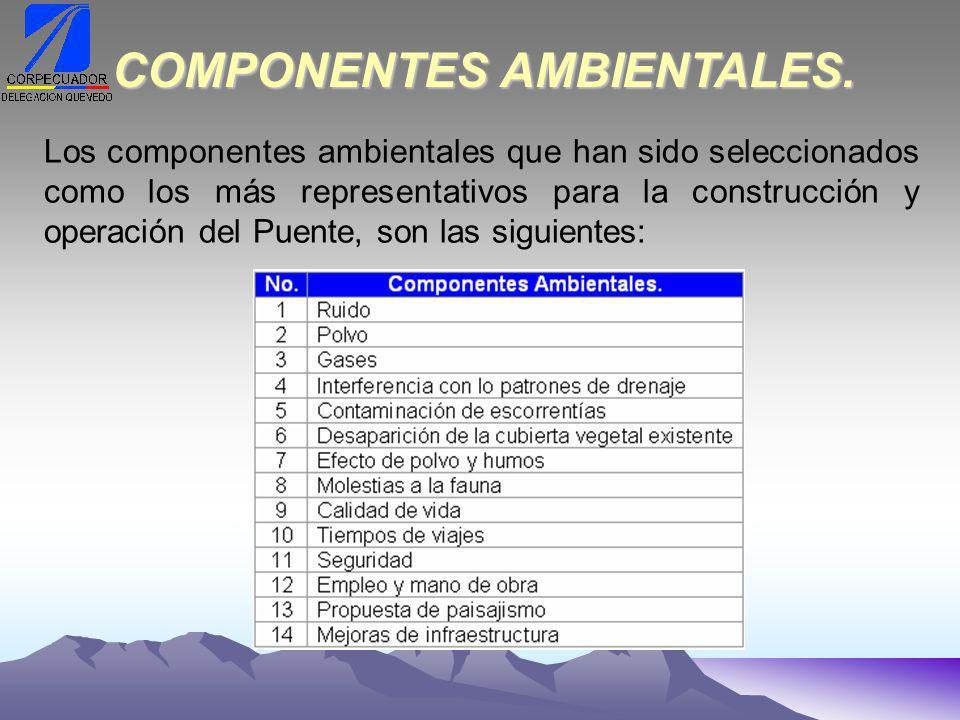 Los componentes ambientales que han sido seleccionados como los más representativos para la construcción y operación del Puente, son las siguientes: COMPONENTES AMBIENTALES.