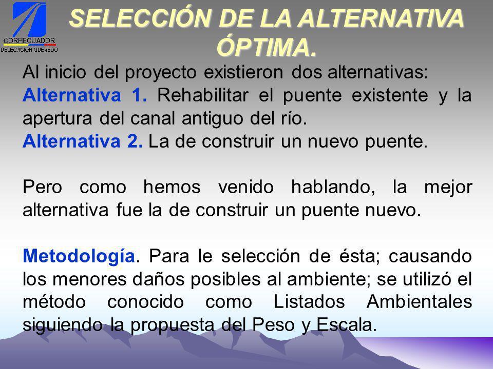 Al inicio del proyecto existieron dos alternativas: Alternativa 1.