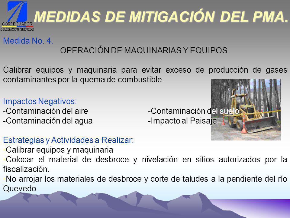 Medida No.4. OPERACIÓN DE MAQUINARIAS Y EQUIPOS.