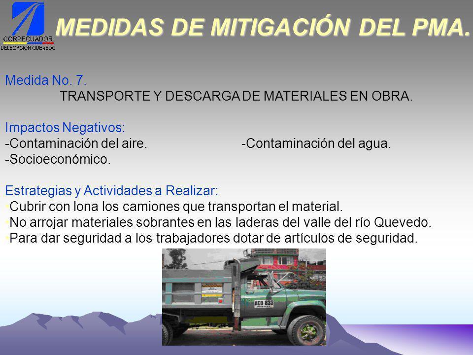Medida No.7. TRANSPORTE Y DESCARGA DE MATERIALES EN OBRA.