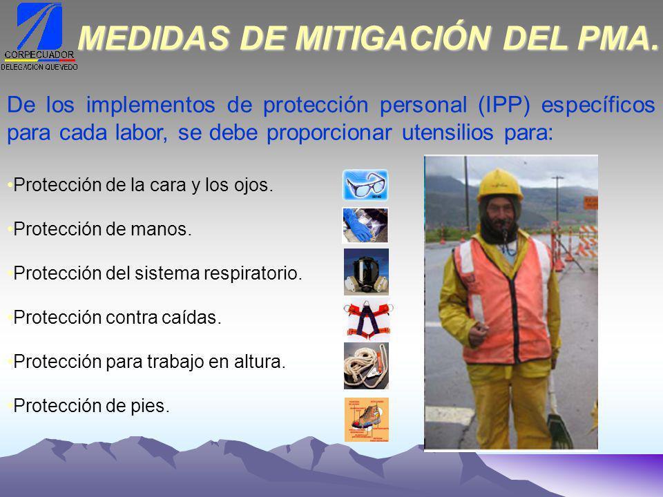 De los implementos de protección personal (IPP) específicos para cada labor, se debe proporcionar utensilios para: Protección de la cara y los ojos.