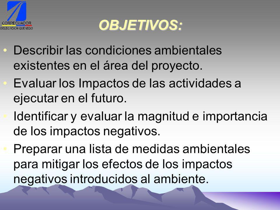 OBJETIVOS: Describir las condiciones ambientales existentes en el área del proyecto.
