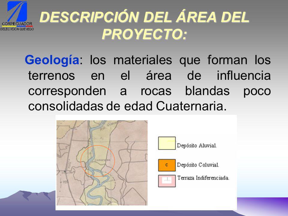 DESCRIPCIÓN DEL ÁREA DEL PROYECTO: Geología: los materiales que forman los terrenos en el área de influencia corresponden a rocas blandas poco consolidadas de edad Cuaternaria.
