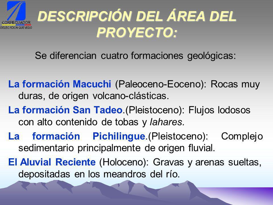 DESCRIPCIÓN DEL ÁREA DEL PROYECTO: Se diferencian cuatro formaciones geológicas: La formación Macuchi (Paleoceno-Eoceno): Rocas muy duras, de origen volcano-clásticas.