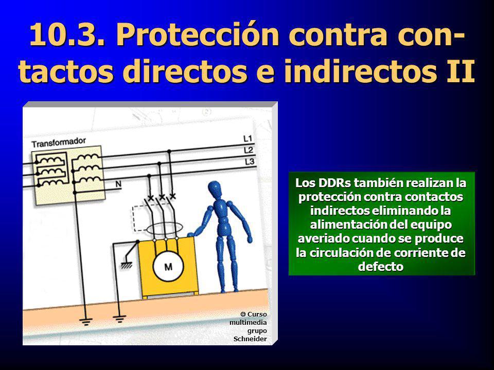 10.3. Protección contra con- tactos directos e indirectos II Los DDRs también realizan la protección contra contactos indirectos eliminando la aliment