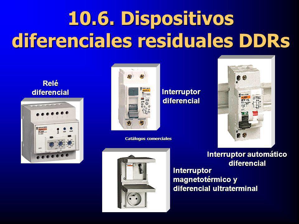 Interruptor automático diferencial Interruptor magnetotérmico y diferencial ultraterminal Interruptor diferencial Relé diferencial 10.6. Dispositivos