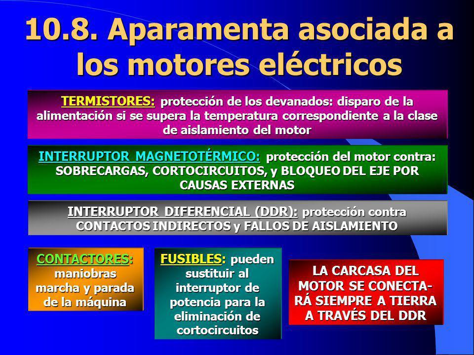 10.8. Aparamenta asociada a los motores eléctricos TERMISTORES: protección de los devanados: disparo de la alimentación si se supera la temperatura co